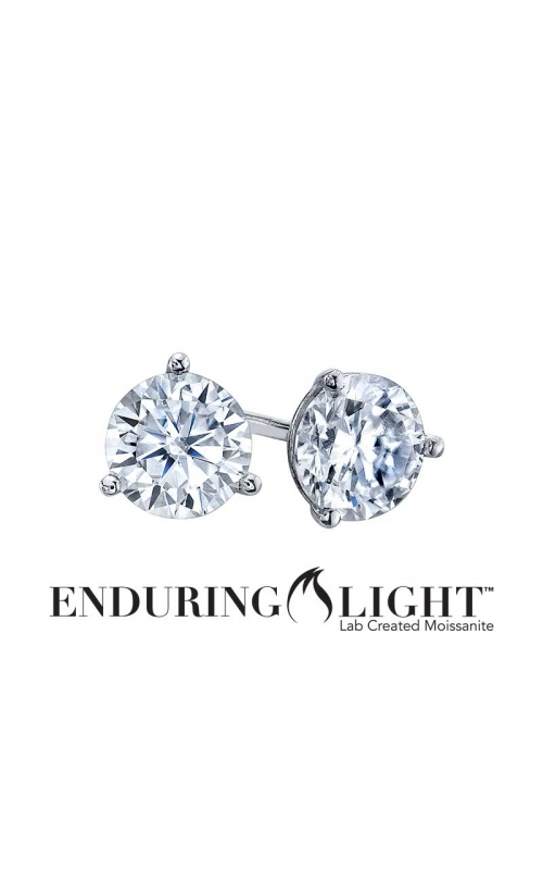 Enduring Light Lab Created Moissanite Stud Earrings in 14k White Gold, 6.5mm product image