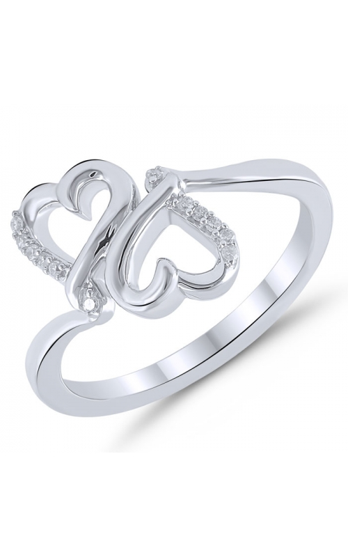 Kissing Hearts Diamond Accent Double Heart Ring in Sterling Silver, 1/20ctw product image