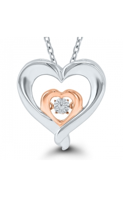 Kissing Hearts Double Heart Dancing Diamond Solitaire Pendant in Two-Tone Sterling Silver, 1/20ctw product image