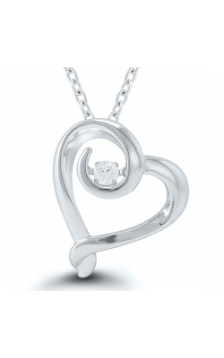 Kissing Hearts Diamond Solitaire Pendant in Sterling Silver, 1/10ctw product image