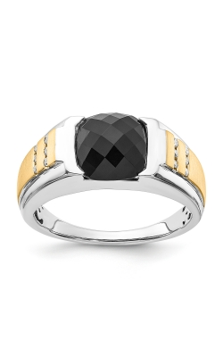 Men's Cushion-Cut Faceted Onyx & Diamond Ring in Sterling Silver and Yellow Gold product image
