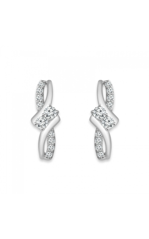 Twogether Two-Stone Diamond Earrings in 14k White Gold, 1/2ctw product image