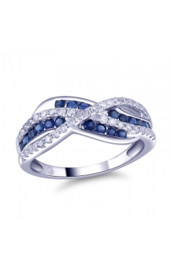 Genuine Sapphire And Diamond Multi-Row Anniversary Band In 14K White Gold, 3/8ctw product image