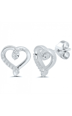 Kissing Hearts Diamond Earrings in Sterling Silver, 1/20ctw product image