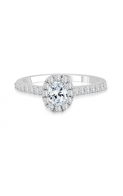 Oval-Cut Halo Diamond Engagement Ring In 14K White Gold, 3/4ctw product image