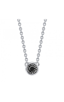 Black Diamond Solitaire Pendant in Sterling Silver, 1/10ctw product image