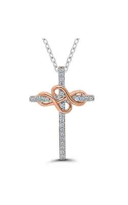 Forever + Ever Diamond Cross Pendant in Two-Tone Gold product image