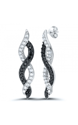 Black & White Twist Diamond Infinity Drop Earrings in White Gold, 1/5ctw product image
