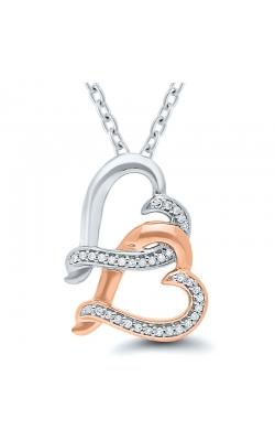 Kissing Hearts Double Heart Diamond Pendant in Two-Tone Sterling Silver, 1/10ctw product image