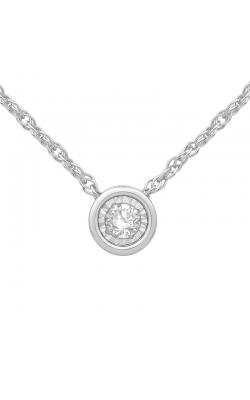 Bezel-Set Diamond Solitaire Pendant in White Gold, 1/10ctw product image