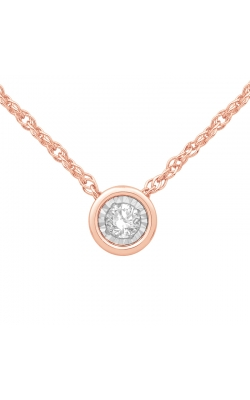 Bezel-Set Diamond Solitaire Pendant in Rose Gold, 1/10ctw product image
