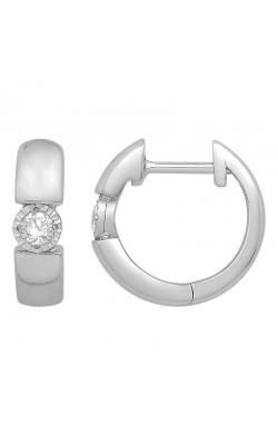 Miracle Diamond Solitaire Huggie Hoop Earrings in Sterling Silver, 1/10ctw product image