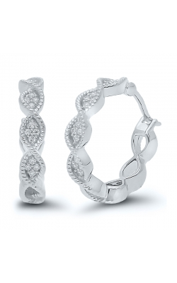 Composite Diamond Marquise Mini-Hoop Earrings in White Gold, 1/10ctw product image