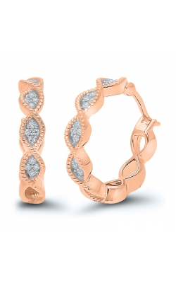 Composite Diamond Marquise Mini-Hoop Earrings in Rose Gold, 1/10ctw product image