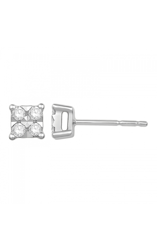 Composite Diamond Square Stud Earrings in White Gold, 1/5ctw product image