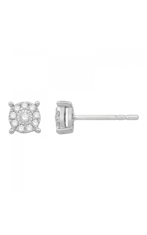 Composite Miracle Diamond Stud Earrings in White Gold, 1/8ctw product image