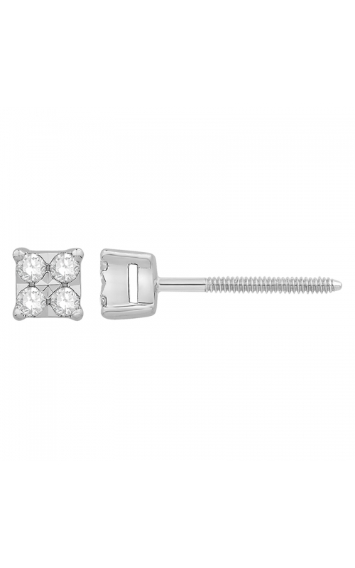 Composite Diamond Square Stud Earrings in White Gold, 1/10ctw product image