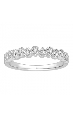 Diamond Accent Milgrain Band In White Gold, 1/10ctw product image