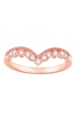 Diamond Milgrain Chevron Band In Rose Gold, 1/5ctw product image