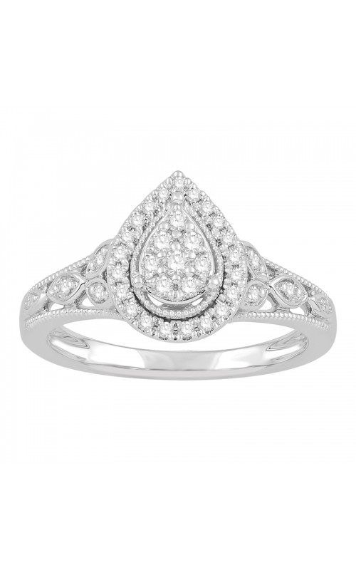 Diamond Pear-Shaped Cluster Halo Engagement Ring in White Gold, 1/4ctw product image