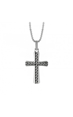 Men's Braided Cross Pendant in Stainless Steel, 24 Inch product image