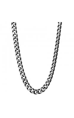 Men's 8mm Curb Chain Necklace in Stainless Steel with Black IP Plating - 24 product image