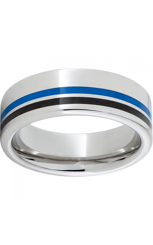 Men's Serinium Blue and Black Line Inlay Band , 8mm product image