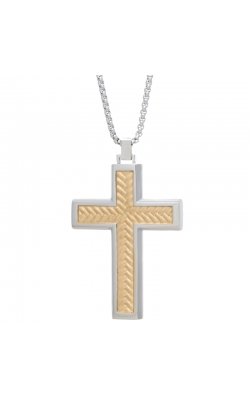 Men's Cross Pendant in Two-Tone Stainless Steel, 24 Inch product image