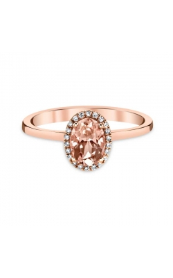 Oval Morganite and Diamond Frame Ring in 14K Rose Gold, 1/20ctw product image