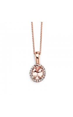 Oval Morganite and Diamond Frame Pendant in 14K Rose Gold, 1/20ctw product image