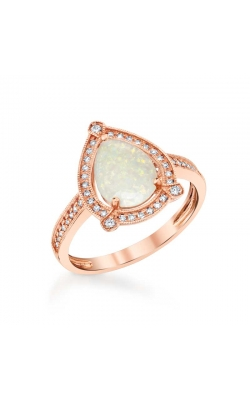 Pear Shaped Opal and Diamond Ring in 14K Rose Gold, 1/10ctw product image