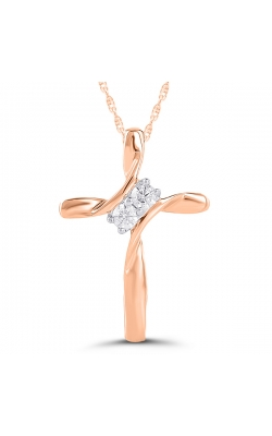 Ladies Diamond Two-Stone Cross Pendant in Rose Gold, 1/10ctw product image