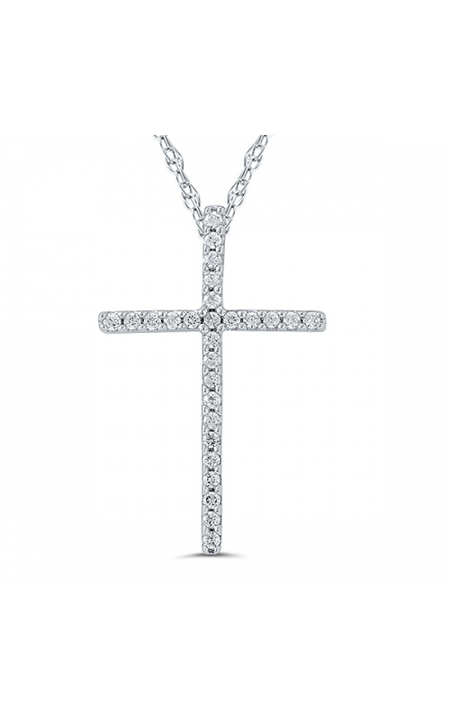 Ladies Diamond Cross Pendant in White Gold, 1/10ctw product image