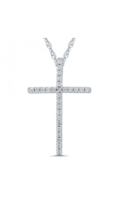 Ladies Diamond Cross Pendant in White Gold, 1/10ctw product image