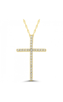 Ladies Diamond Cross Pendant in Yellow Gold, 1/10ctw product image