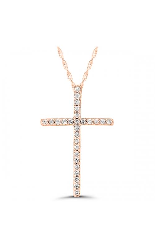 Ladies Diamond Cross Pendant in Rose Gold, 1/10ctw product image