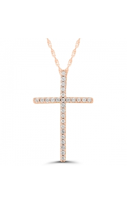 Ladies Diamond Cross Pendant in Rose Gold, 1/10ctw product image