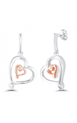 Kissing Hearts Double Heart Diamond Solitaire Earrings in Two-Tone Sterling Silver product image