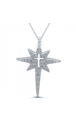 Eight-Point Star and Cross Diamond Pendant in Sterling Silver, 1/10ctw product image