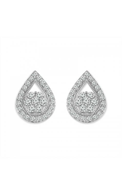 Diamond Teardrop Cluster Stud Earrings in Sterling Silver, 1/4ctw product image