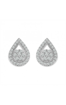 Diamond Teardrop Cluster Stud Earrings in Sterling Silver, 1/4ctw product image