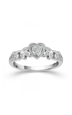 Heart Leaf Miracle Diamond Promise Ring In Sterling Silver, 1/8ctw product image