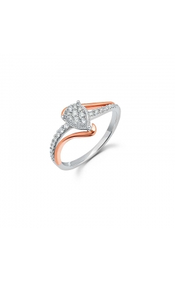 Pear-Shaped Cluster Diamond Promise Ring in Two-Tone Gold, 1/5ctw product image