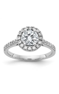 Lab Created Moissanite Halo Engagement Ring In 14K White Gold, 6.5mm product image