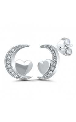 Diamond Accent Moon and Heart Earrings in Sterling Silver product image