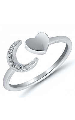 Diamond Accent Moon And Heart Open Shank Ring In Sterling Silver product image