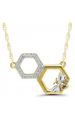 Hexagon Bee Necklace In Two-Tone Gold, 1/20ctw product image