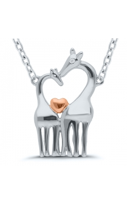 Mother And Baby Giraffe Diamond Accent Necklace In Sterling Silver product image
