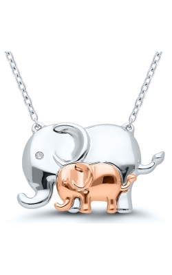 Mother And Baby Elephant Diamond Accent Necklace In Sterling Silver product image