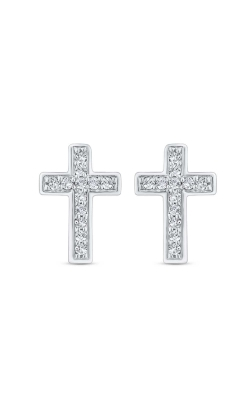 Diamond Cross Stud Earrings in Sterling Silver, 1/20ctw product image